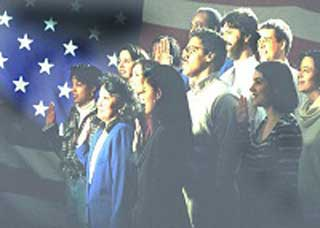 Image of a group of people taking a citizenship oath