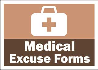 Image of a medical bag with the language Medical Excuse Forms